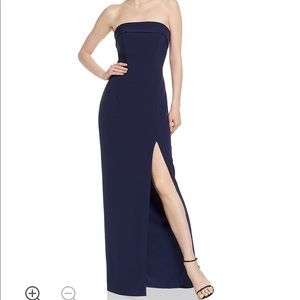 Aqua Strapless Navy Gown